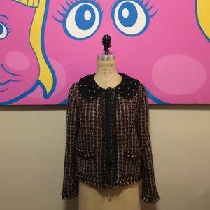 Zara Black Red White Tweed Boucle Jacket Fringe